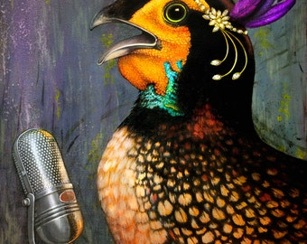 Jazz Cock by Kelley Quigley. Giclee Print on Gallery Wrapped Canvas of Original Oil Painting. Number 1/750 of a strictly limited edition.