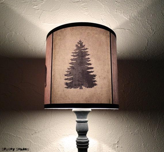 Pine tree art lamp shade lampshade Woods Shadows - holiday home decor, Scandinavian Christmas, winter, christmas tree, bear, deer, woodland,