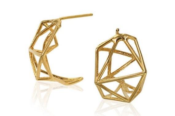 Geometric Stud Earrings, Geometric Jewelry, Gifts for Her, Brass Hoop Earrings, Architecture earrings, Designer Earrings, Bridal Jewelry