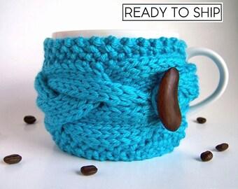 Coffee Mug Cozy, Tea Cozy, Coffee Cozy, Cup Cozy, Coffee Cup Sleeve, Coffee Cup Cozy, Coffee Mug Sleeve, Coffee Sleeve, Blue Turquoise