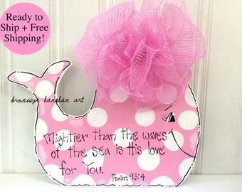 FREE SHIPPING - Pink Whale Door Hanger/Wall Hanger - Bronwyn Hanahan Art