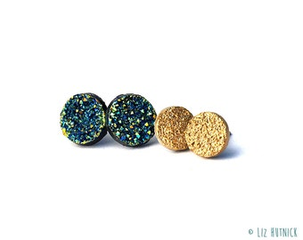 Gold and Green Faux Druzies - Glitter Stud Earrings on Titanium Posts - 2 Pair Set