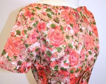 1950's Rose Print Wiggle Dress