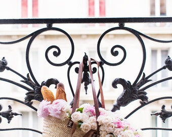 Paris Photography - The Market Basket, Floral Travel Photograph, Neutral Decor, Large Wall Art, French Home Decor, Gallery Wall