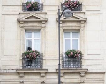 Paris Photograph - Windows on Paris, Travel Photography, Large Wall Art, Neutral French Home Decor, Architecture Fine Art Photo