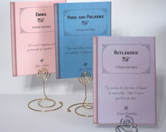 Book Theme Wedding Table Cards - Classic Love Stories Library Wedding  - Vintage Library Book Cover