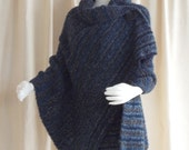 Handmade Hand Knit Shawl, Knitted Wrap Knit Cape Black, Blue, Grey, Brown Boucle' Plus Sizes Available