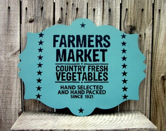 Farmers Market Sign, Painted Wood, Plaque, Vegetable Market, Country Decor, Rustic, Kitchen Wall Decor, Dining, Green, Black, Stars