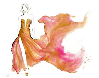 Flowing Gown, print from original watercolor and pen fashion illustration by Jessica Durrant