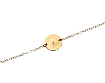 Gold Initial Disc bracelet - delicate personalised jewelry - customise