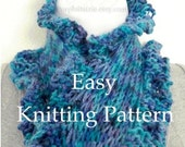 Knitting Pattern Scarf DIY Print and Knit Scarf Tutorial Scarflett Pattern Very Easy Ruffle Edge Fun Sell What You Make PDF Instant Download