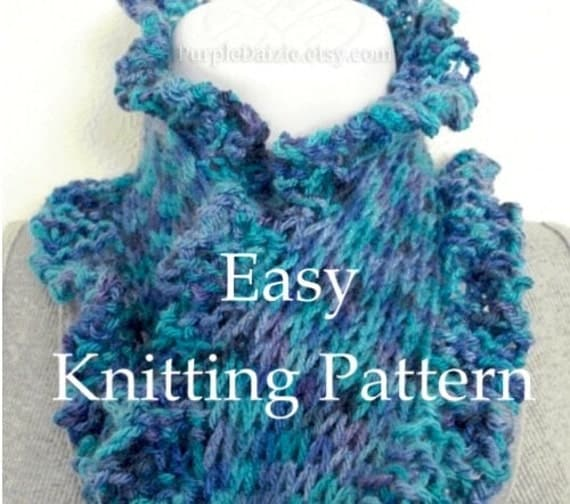 DIY Scarf Knitting Pattern Print and Knit Scarf Tutorial Scarflett Pattern Very Easy Ruffle Edge Fun Sell What You Make PDF Instant Download