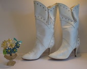 Vintage Totally Retro 1980's White Fringe & Studded Boots - Womens Size 8.5 -RESERVED for Evernolia