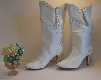 Vintage Totally Retro 1980's White Fringe & Studded Boots - Womens Size 8.5