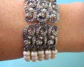 Great Gatsby Pearl Bracelet, Bridal Cuff, Marcasite Bracelet, Vintage Wedding Jewelry, Ivory Pearls, Art Deco