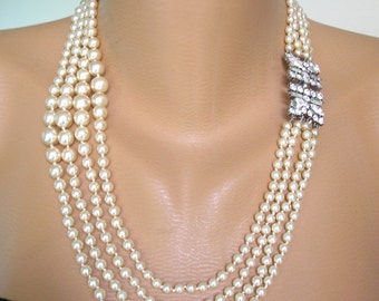 Great Gatsby Jewelry, Art Deco, Pearl Necklace, Pearl Choker, Wedding Jewelry, Vintage Bridal, Pearl And Rhinestone Collar, 1920s, 4 Strand