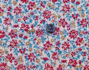 Vintage Feedsack  Flour Sack Cotton  Fabric - Tiny Red & Gold Flowers on Creamy White Background   -  34 x 43