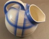 "Vintage Art Deco Blue and White Spritzdeco Air Brush  Small Pitcher Deco Ceramics ""USA ONLY"""