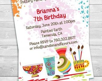 Pottery Painting - Birthday Party Invitation Professionally printed *or* DIY printable PDF