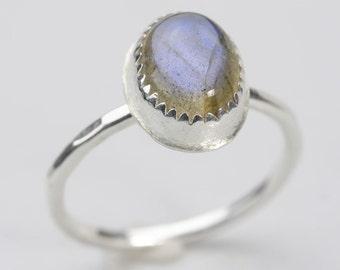 Sterling Silver Labradorite Stacking Ring, Custom handmade to order oval labradorite stone stackable ring