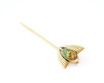 14k Gold Antique Stickpin Egyptian Revival Deep Green and Red Lava Art Glass