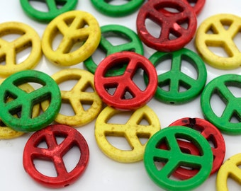 Rasta Peace Sign Beads, Howlite,  20mm, 20pcs,  Peace Symbol -B81