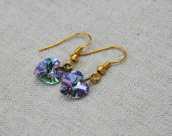 Swarovski heart earrings - Crystal AB Glass purple/pink heart dangle drop gold small Earrings Aurora Borealis - Available in Sterling Silver