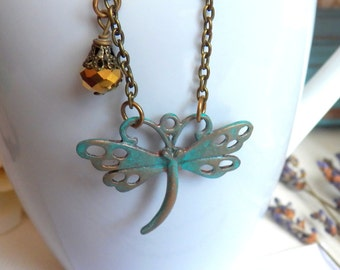Vintage Style Dragonfly Necklace, Antique Brass Dragonfly Pendant, Hand-Painted Turquoise Blue Patina Dragonfly Jewelry Gifts by HoneyNest