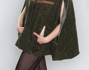 Medieval Green Wool Cape- Upcycled Leather and Fur Trim and Micro Chenille Lining- Burning Man, Festival, LARP, Forest
