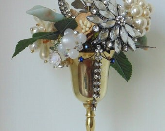 Rhinestone Jewelry Bouquet Upcycled Assemblage Art Jewelry