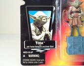 Vintage Star Wars Action Figure Yoda with Cane and Dagobah Backpack - In Original Unopened Packaging - 1995 Star Wars Power of the Force Toy