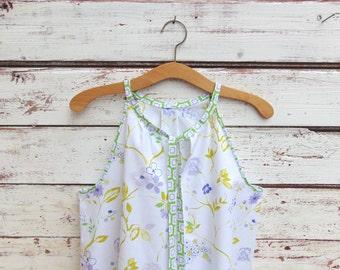 Sleeveless Top, Cotton Top, Shirt, Summer Shirt, Floral Top, Boho Top, Blouse, Tunic, Womens top, Size 8, Jannysgirl