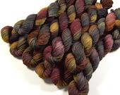 Mini Skeins Sock Yarn, Hand Dyed Yarn, Sock Weight 4 Ply Superwash Merino Wool Yarn, AGATE, Knitting Yarn, Gray Grey Brown Earthtones