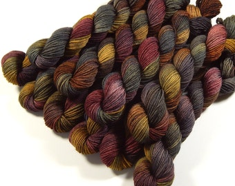 Mini Skeins - Hand Dyed Yarn - Sock Weight 4 Ply Superwash Merino Wool Yarn - Agate - Knitting Yarn, Sock Yarn, Gray Grey Brown Earthtones