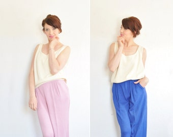 St. John knit pant set of two . high waist high fashion pink blue trouser .large.extra large.xl .sale