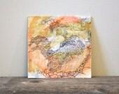contemporary art: el desierto. original mixed-media painting