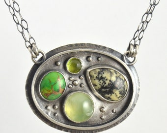 prehnite, green mojave turquoise, peridot and picasso serpentine sterling silver necklace pendant
