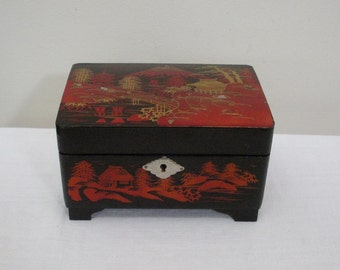 Vintage Red and Dark Brown Asian Jewelry Box with MOP