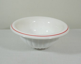 Vintage Bartlett-Collins White Mixing Bowl with Red Stripe