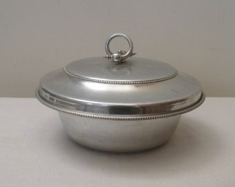 Vintage Buenilum Hammered Aluminum Covered Dish with Pyrex Bowl
