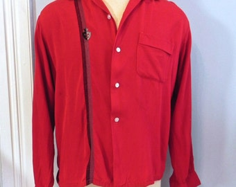 Vintage 1950s Men's Shirt - Rockin 50s Red Gab Shirt with Stripe M - on sale