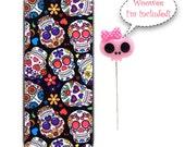 Magnetic Needle Case Needle Slider Case Black Sugar Skulls with Decorative Pink Skull Pin Limited