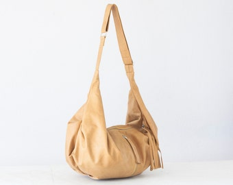 Light brown leather crossbody bag, hobo bag shoulder purse caryall bag crossover long strap- Crossbody Kallia bag