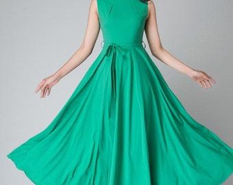 turquoise dress, handmade dress, fit flare dress,Maxi chiffon dress women's dress long prom dress, ladies dresses, 1530