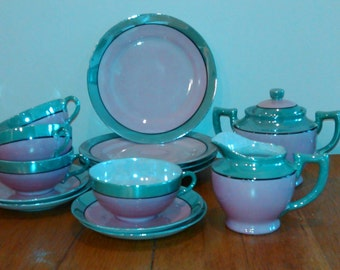 Lustre Ware Tea Set Pink and Green