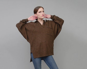 Vintage 80s Speckled Slouchy Knit Top Batwing Dolman Sleeve Polo Shirt Brown Black Small Medium S M