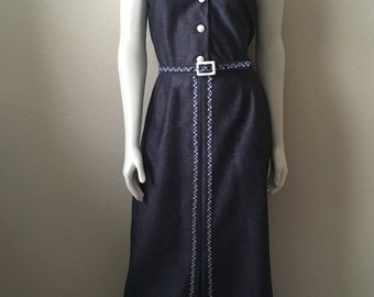 Vintage Women's 70's Alfred Werber, Maxi Dress, Blue, Sleeveless, Full Length (M/L)