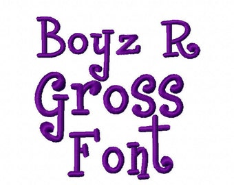 Boyz R Gross Font Alphabet Machine Embroidery Design 2 INCH Letters Numbers Instant Download boy girl baby shower shirt bib