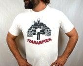 Original Vintage 1989 Tiananmen Square China Democracy Tee Shirt Tshirt