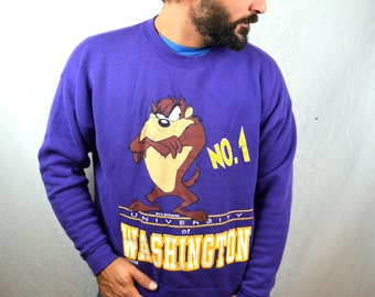 Vintage 1993 90s Husky University of Washington UW Sweatshirt - Taz Looney Tunes